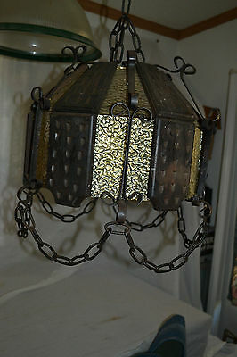 Vtg wood glass metal chain Swag Mexican Medievil Chandelier Light fixture