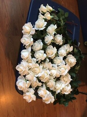 Lot Of 35 Queen Anne Artificial White Rose Flower Real Touch Latex Wedding