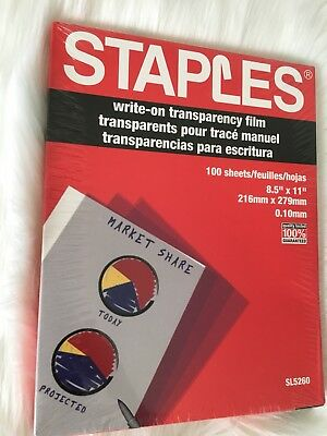 NEW Staples SL5260 Write On Transparency Film 100 Sheets