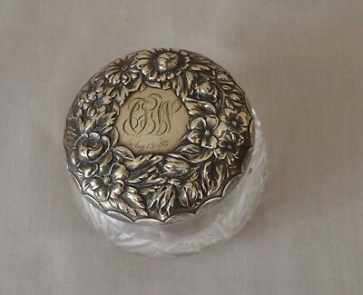 Gorham Ornate Floral Sterling Silver Cut Glass Vanity Jar