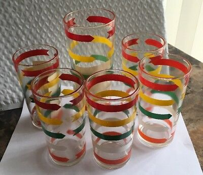 "NM VINTAGE 1960's SWANKY SWIG 6-5/8""h GLASS - MULTI-COLOR ARROWS BANDS STRIPES"