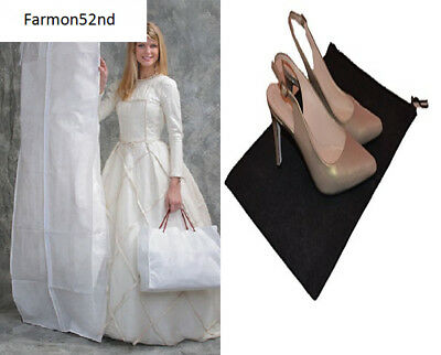 DELUXE Bridal White Wedding Gown Dress/Coat Garment Bag with Gusset - With Shoe
