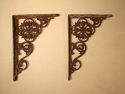"""Antique Pair Of Victorian Floral Cast Iron Shelf Brackets 7"""" x 5"""" Made in USA"""