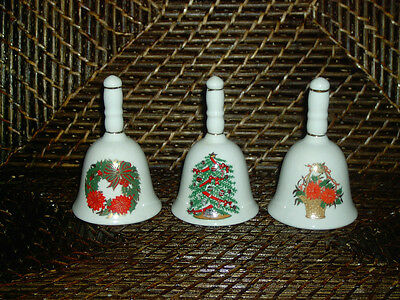 Decorative Christmas bell set of 3 colorful tree wreath flower basket design