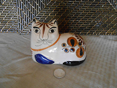 """Decorative cat figurine colorful abstract design pottery Mexico 5"""" long"""