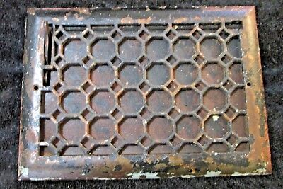 Antique VICTORIAN CAST IRON Register Air Return Heat Grate HONEYCOMB Vent NICE