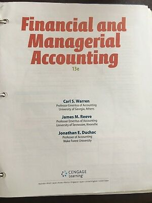 Financial & Managerial Accounting Textbook 13th Edition, Cengage Learning