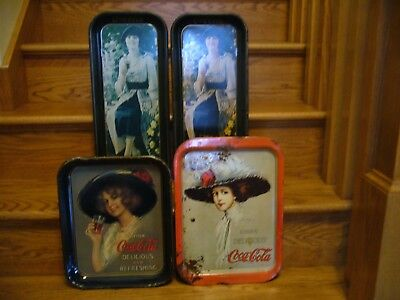 Lot of 4 Vintage 1970's Coca-Cola Advertising Collectable Metal Serving Trays