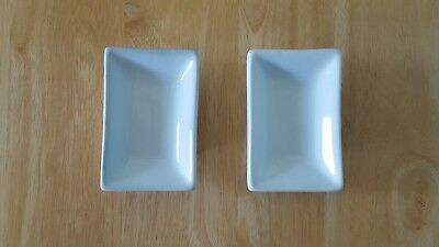 Set of 2 Cordon Blue White Porcelain Dipping Soy Sauce Dishes