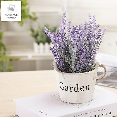 Artificial Lavender in Vintage Style Whitewashed Wood Stave GARDEN Bucket with R