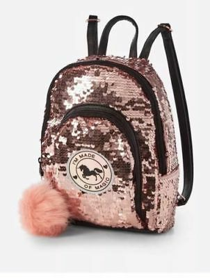Justice Girls Mini backpack UNICORN Rose Gold Sequin Purse Bag Tote NWT!