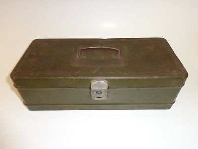 Vintage Metal Tool Box By Ham M.p. Co. Of Ohio, U.s.a. - Army Green