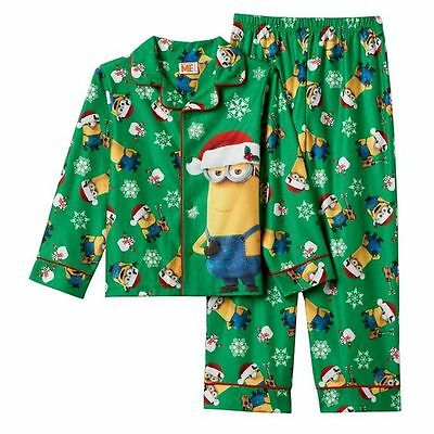 New DESPICABLE ME Boys Pajamas Size 8 Minions Holiday 2 Piece Flannel Christmas