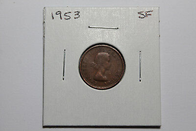 1953 Shoulder fold variety circulated Canadian cent