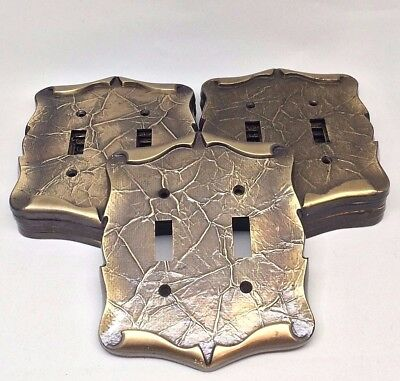 Vintage AMEROCK CARRIAGE HOUSE Double Switch Plate Toggle Cover Antique Brass