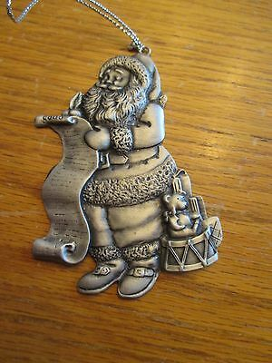 "Avon Fine Collectibles 1996 Pewter Christmas Ornament - ""Santa's List"""