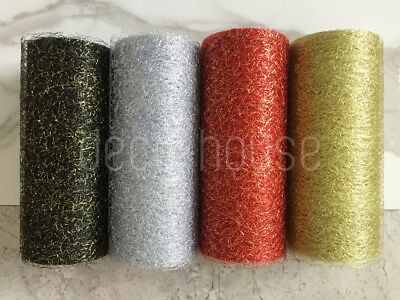 15cm Glitter Mesh Web Ribbon Wedding Craft Gift Wrap Christmas Floristry Cake