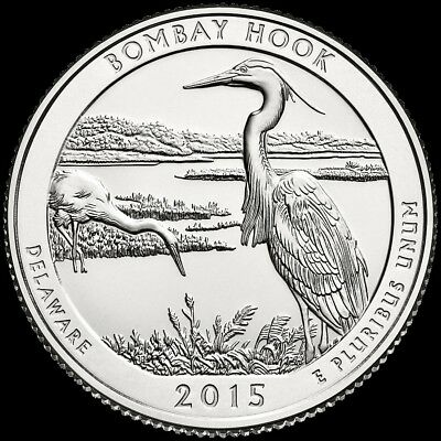 "2015 P Bombay Hook National Park Quarter Delaware ""Brilliant Uncirculated"" ATB"