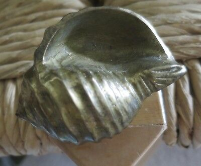 Vintage Very Heavy Solid Brass Shell Decorative Paper Weight