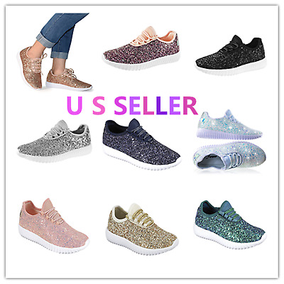 Link Kids Todddler Girls Fashion Sneaker-Lightweight Glitter Flat Lace Up Shoes
