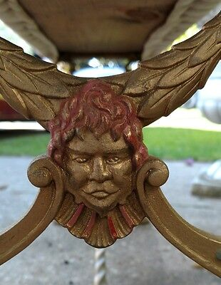Antique Victorian Wrought Iron Bench Beethoven face Ornate Classy decor
