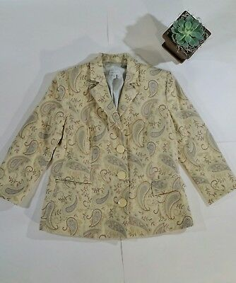 A Pea In The Pod S Maternity Wool Blazer Yellow Beige Paisley Work Career Mom