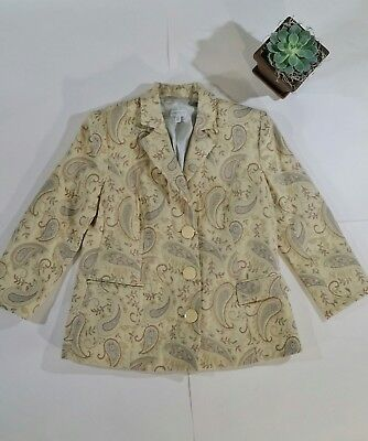 A Pea In The Pod Small Maternity Work Career Blazer Paisley Beige Yellow Wool