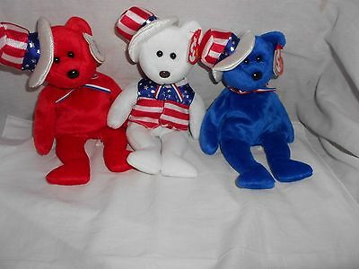 Ty Sam Set - Red, White & Blue - Beanie Baby Set -With Tags