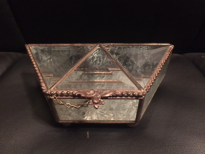 Vintage Brass beveled Glass trinket box hinged top ETCHED Floral Mirrored -# 64
