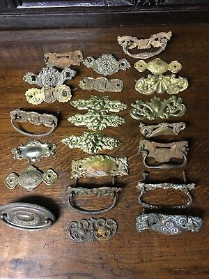 23 Drawer Pull back plates, vintage, Made of Tin, mix & match, Farmhouse cabinet