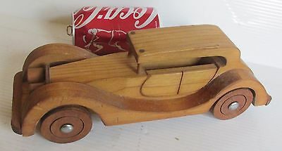 "vtg Solid Wood 11"" Antique Retro Auto Car Wheels Rolling, Crafted in New Zealand"