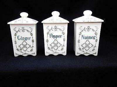 3 Antique Porcelain Spice Jars Old Blue Onion Pattern NUTMEG, GINGER, PEPPER