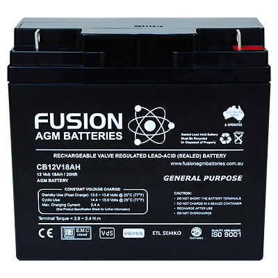 NEW 12V 18AH Sealed Lead-Acid Battery AGM>17ah Solar Power SSB FUSION