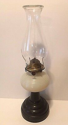 """Vintage White And Black Glass Beehive Oil Lamp With Eagle Burner. 17"""" tall"""