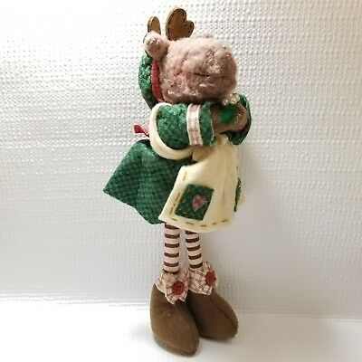 Primitive Rustic Aproned Moose Reindeer Plush Christmas Free Priority Shipping