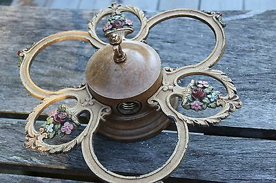 Antique Brass Three Lamp ceiling Fixture Different Vintage Nice