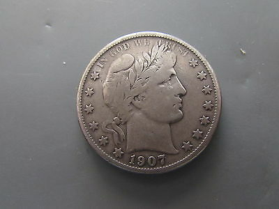 1907 O Barber Silver Half Dollar 50 Cents New Orleans Mint Full Liberty 50c Coin