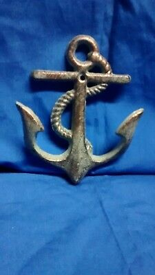 1 Cast Iron Nautical Anchor Towel, Coat, Hat or Key Hook Bronze  Green