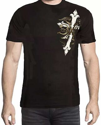 XTREME COUTURE by AFFLICTION Men T-Shirt ANNUIT Skull Cross Tattoo Biker Gym $40