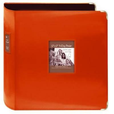 "Pioneer 12X12"" Bright Orange Sewn Leatherette Scrapbook 3-Ring Binder Craft New"