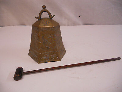 Antique Chinese Hand Carved Bronze Bell Gong Temple Buddhism Brass Zhong