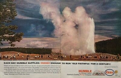 1962  ESSO HUMBLE  Energy Co Old Faithful Yellowstone  Vintage PRINT AD