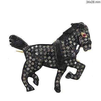 14k Gold 1.0Ct Diamond Pave Horse Brooch Pendant 925 Silver Ruby Fashion Jewelry