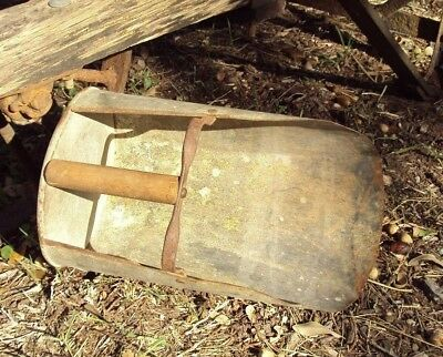 Antique Texas Feed Scoop  Farm Tool Old Vintage Rustic Man Cave Metal Wood Grain