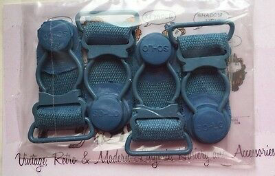 "4x Lge 1.5"" Vintage Blue 'solo' Metal Garter Girdle Stocking Replacement Clips"