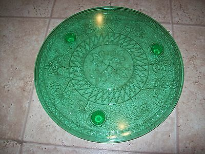 Green Depression Glass Footed Cake Platter 12""