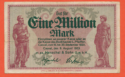 Kassel Cassel 1 Million Mark 1923 Henschel & Sohn Eisenbahn Lokomotive (189