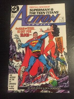 Action Comics#584 Incredible Condition 9.2(1987) Teen Titans Beatdown,Byrne Art!