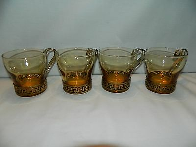 4 Vintage Libbey Amber Glasses With Gold Tone Metal Greek Key Holders