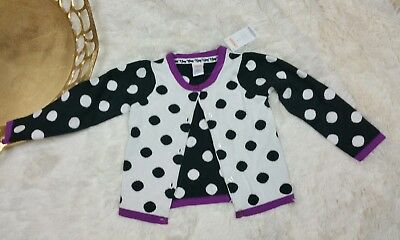 GYMBOREE PURRFECTLY FABULOUS POLKA DOT TIPPED CARDIGAN L/S SWEATER sz 3T NWT
